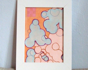 Abstract Art Circles Face Map Orange Blue Pink with Block Print 5 x 7 Digitial Art Print