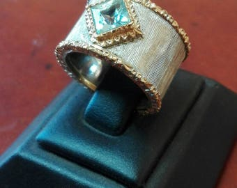 Golden Silver ring with princess cut Stone