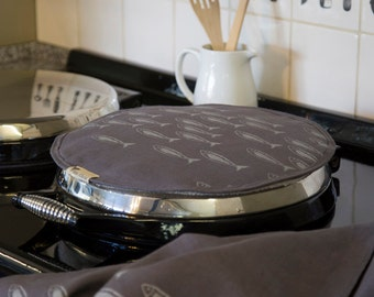 Aga Top with Fish - Linen - Pure Linen - Handprinted - Quayside Collection - Aga Topper - Chef's Pad - Helen Round, Helen Round Designs