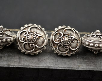Bali Style Lentil - 14mm Pewter - Mykonos Beads - QTY: 6 or 8