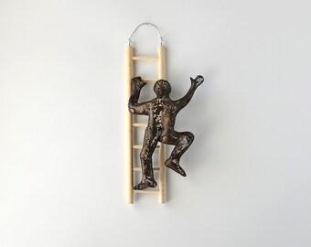 Metal wall art, Climbing man sculpture on wood ladder, Housewarming gift, wire mesh sculpture, Contemporary art
