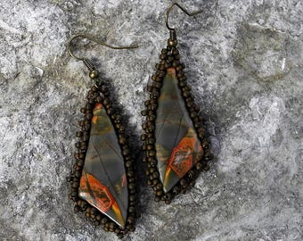 Beaded Statement Earrings - Bead Weaving Jewelry - Dangles - Red Creek Jasper Cabochons - BOHO