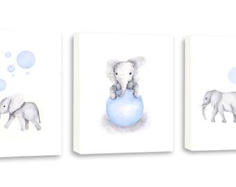 Baby Boy Art, Watercolor Art, Elephant Art, Kids Art, Elephant Nursery, Set Of Three Gallery Wrapped Canvases - SO85WC