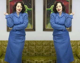 """Cornflower Suit   50s Suit   1950s Suit   50s Blue Suit   Wool Suit Blue Wool Suit   Fitted Suit   1950s Blue Suit   Mrs Maisel   25"""" Waist"""