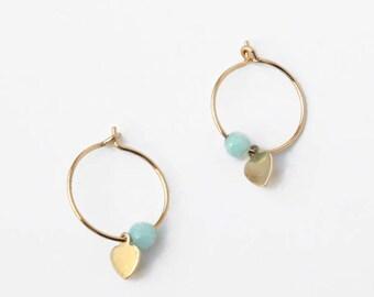 Heart gemstone hoop earrings, Heart earrings, Blue amazonite circle earrings, Gold filled earrings, Circle minimal earring, Mini earrings