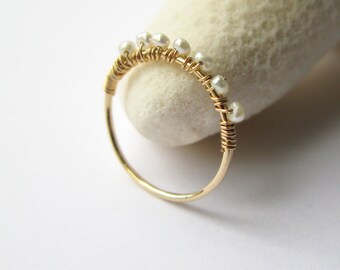 Thin band ring-Delicate cultured pearls gold filled stacking ring-pearl eternity band gold filled thin ring-seed pearls ring
