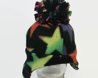 Colorful Stars Children's Wonderland Cap - Ear Flap Hat - Ready to Ship