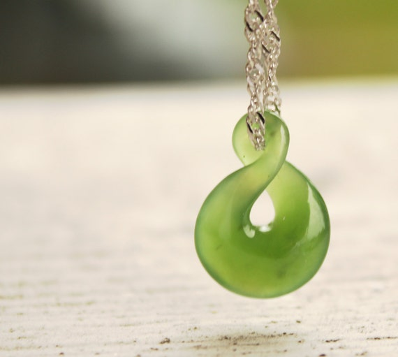 Jade necklace green nephrite jade twisted lucky 8 aloadofball Image collections