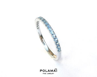 Aquamarine Eternity Ring . Solid 18k or 14k Gold . Full 3/4 Half Eternity . Wedding Band . Stacking Ring . Yellow White Rose Gold