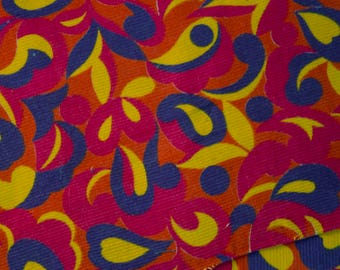 vintage 1960s psychedelic cotton needlecord fabric pieces patchwork & crafts