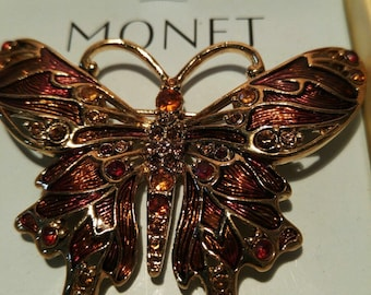 Large Enameled Rhinestone Butterfly Brooch