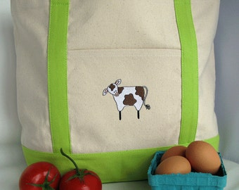 Farmers Market Tote Bag - Reusable Shopping Bag - Cow Canvas Tote