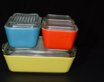 PYREX, Primary, Full set, Fridgies with lids, Vintage Pyrex Set, 1950s, Pyrex Refrigerator Set, 501, 502, 503, 8 pc