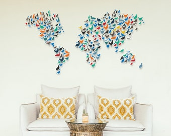 Birds World Map Wall Decal -  Animals Around The World Map Decor - Geography Wall Art - Birds Lovers Home Decor - World Map Made With Birds