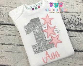 Girls Pink and silver Birthday Outfit - Twinkle Twinkle Little Star Birthday Outfit - Baby Girl Star Birthday Outfit -  1st Birthday outfit
