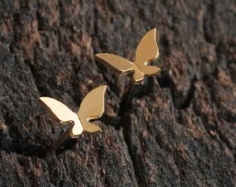 Tiny Butterfly Earrings, Gold Butterfly Studs , Small Earrings, Cute Earrings, Flying Butterfly, Butterfly Wings Earrings, Gift for Girls