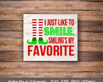 Elf Christmas Card Set Of 10 Elf I Just Like To Smile