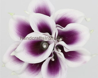 Picasso Purple Calla Lily 10 Stems Mini Calla Lily, Real Touch Calla Lilies Artificial Calla Lily, Bridal Bouquet Wedding Flowers MTL-FLN005