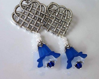 Blue Flower Earrings, Lucite Flower Chandelier Earrings, Dark Blue Lily, Celtic Weave, Silver Heart, Wedding Jewelry