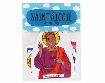Saint Biggie stickers -  Biggie Smalls sticker -  Biggie Smalls sticker set, East Coast Rap, The Notorious B.I.G - Rapper stickers - Hip Hop