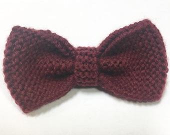 Burgundy knit bow