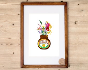Marmite Print | Kitchen Print | Marmite Poster | Marmite Illustration | Marmite Home Decor | Marmite Merchandise | Food Print | Marmite Jar