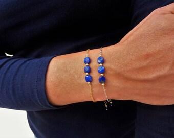 Bracelet Lapis-lazuli - Argent 925, Or 14 ct*, chaine fine, pierres fines naturelles, semi-précieuses