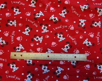 Red Dog/Puppy I Woof You Valentine's Day Cotton Fabric by the Yard