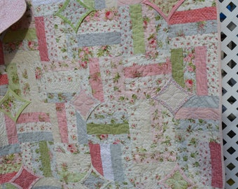 Handmade Cottage Chic Lap Quilt Shabby Elegance Pastel Calico Large Baby Quilt Small Lap Quilt
