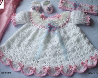 Sugar Fairy crochet pattern for baby dress with puff sleeves plus headband and shoes in sizes Newborn, 0-3, 3-6, 6-12 months.