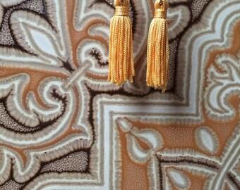 Yellow Small Tassel Earrings