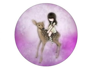 20mm, cabochon girl and fawn, gorjuss