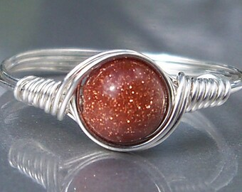 Brown Goldstone Argentium Sterling Silver Wire Wrapped Ring Custom Sized