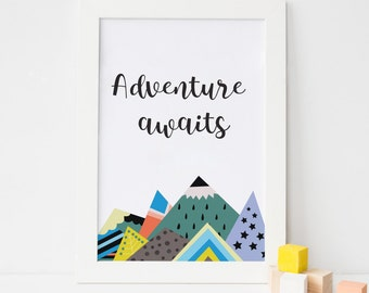 Adventure Awaits Colourful Mountains Wall Art Print Inspirational Quote Print Nursery Decor
