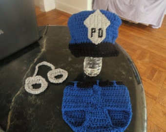 Police hat, diaper cover, and handcuffs- 0-3mth to 18mth same price-any color