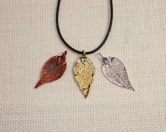 SALE Leaf Necklace, Evergreen Leaf, Silver Evergreen Leaf, Copper Leaf, Real Leaf Necklace, Gold Evergreen Leaf Pendant, SALE188