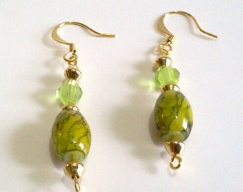 Olive Green Glass Bead and Peridot Faceted Crystal Earrings, Simple Handmade Beaded Drop Earrings, Office Earrings For Fall, Casual Jewelry