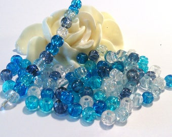 400 pearls glass Crackle, multicolored, 4 mm, (118a)