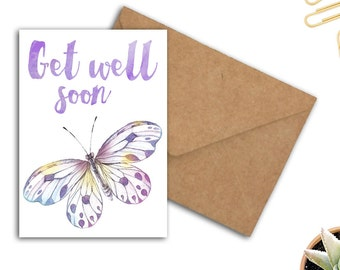 Get Well Soon Card - Watercolor Butterfly Card - Well Wishes Card - Encouragement Card - Typography Card - Card For Her - 5 x 7 Card