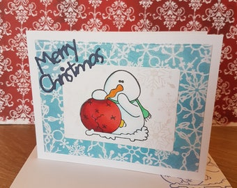Christmas Card - snowman with broken ornament - greeting card, snowflakes, stencil perfect pearls