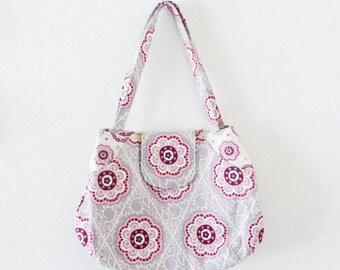 Beach tote bag, gray floral handbag, market tote bag, beach bag, floral print, summer purse, cute bag, ready to ship, handmade, gift idea