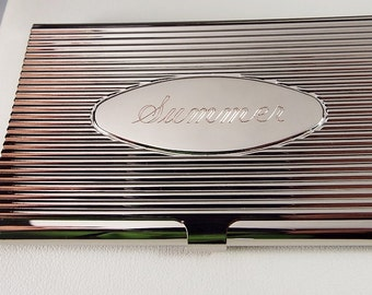 Custom Engraved Business Card Case Silver Ribbed Design with Personalized Oval Center  -Hand Engraved
