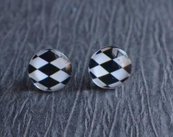 Harlequin - Black White Glass Stud Earrings