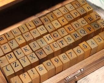 Alphabet Stamp Set - Wooden Rubber Stamps - Letter Stamps - 70pcs