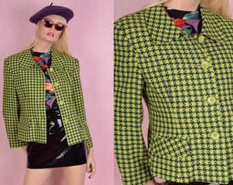 80s Green Houndstooth Tweed Jacket/ Large/ 1980s/ Coat/ Blazer