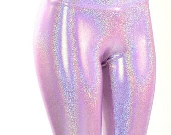 Lilac Purple Holographic Metallic Hologram High Waist Lycra Spandex  Leggings  -150898