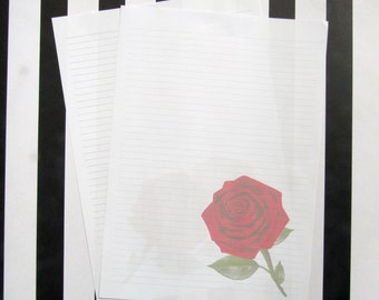 Simple red rose writing paper for penpaling or journaling