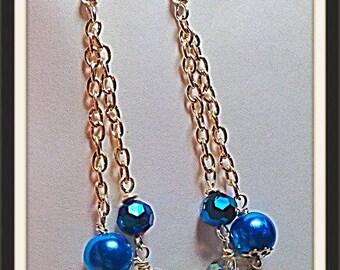 MWL long dangle blue earrings