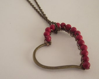 Red Wire Wrapped Antique bronze Pendant on a Delicate Chain Necklace