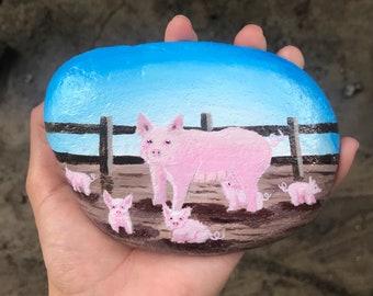 Original hand painted rocks, pigs